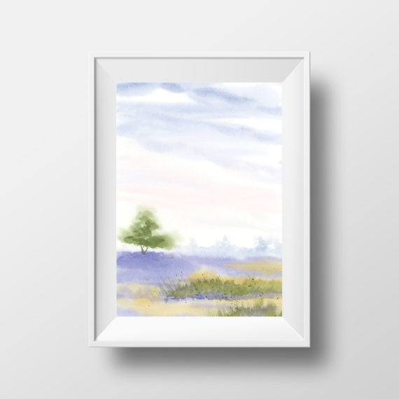 Art Print: Lavender field landspace