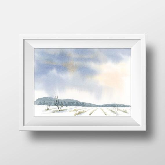 watercolor landscape, farm field, rainy sky