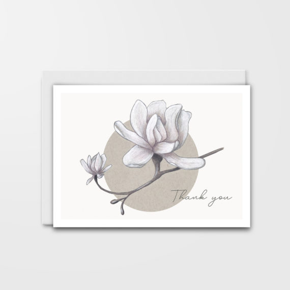 Thank you card with magnolias