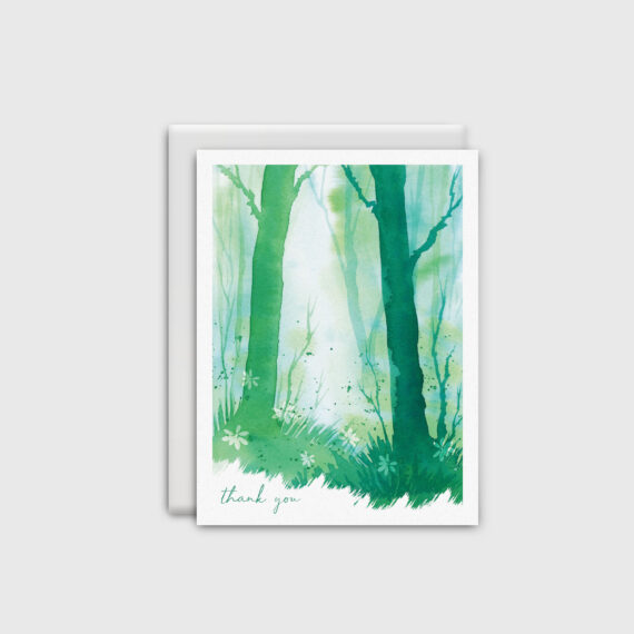Watercolour green forest Thank You card