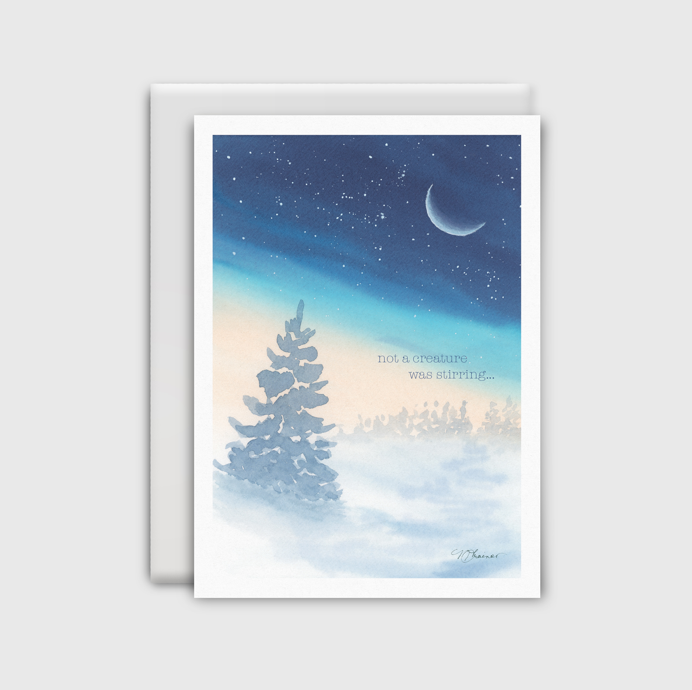 Watercolor winter scene